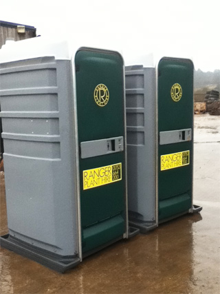 2 Ranger Plant Hire Portable Toilet in the Yard
